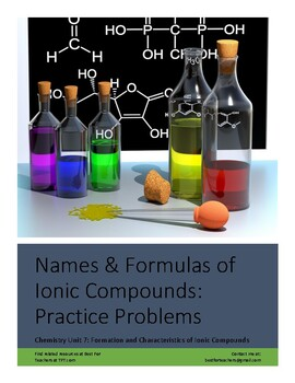 Ionic Bonds: Writing Names and Formulas Practice and Review Worksheet