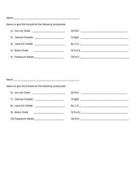 Ionic Compound Quiz