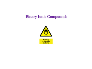 Ionic Compounds Using the Periodic Table