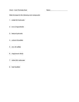 Ionic Formulas Quizzes