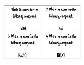Ionic Nomenclature Task Cards