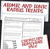 Ionic Radius and Atomic Radius Periodic Table Trends Homework Worksheet