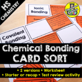Ionic and Covalent Bonding Activity - CARD SORT