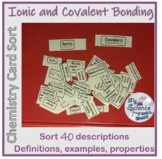 Ionic and Covalent Bonding Card Sort - Pair Challenge or R