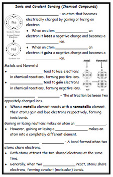 Ionic and Covalent Bonds - CLOZE NOTES