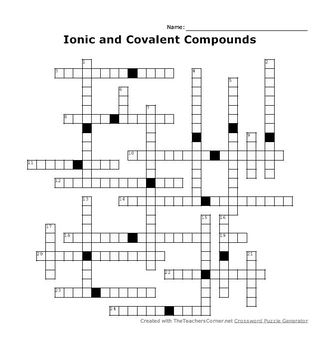 Ionic bonding crossword puzzle answers