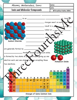 Ionic and Molecular / Covalent Bonding Scaffolded Notes