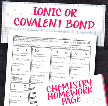 Ionic or Covalent Bond Determination Practice Chemistry Homework Worksheet