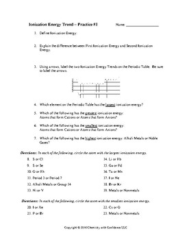 Ionization Energy - Trend Match-Up