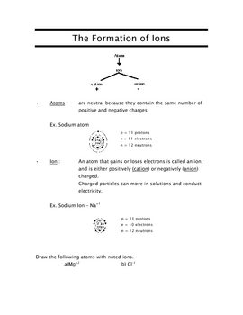 Ions SCIENCE - CHEMISTRY The formation of Ions (Cation/Anion)