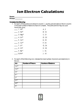 Ions --- The Electron Calculation Worksheet