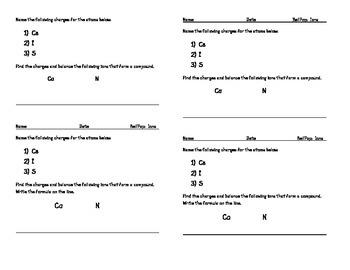 Ions and Ionic Bonding - Quick Quiz - Pop Quiz - Formative/Summative Assessment