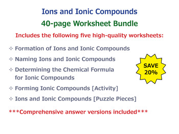 Ions and Ionic Compounds [Worksheet Bundle]