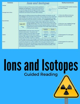 Ions and Isotopes Guided Reading