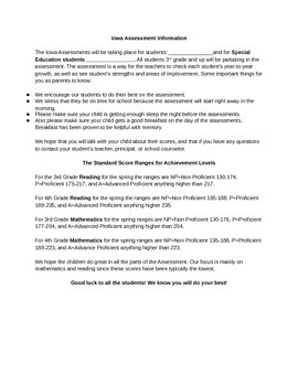 Iowa Assessment Letter for Parents