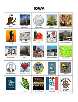 Iowa Bingo:  State Symbols and Popular Sites