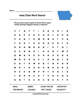 Iowa Cities Word Search (Grades 3-5)