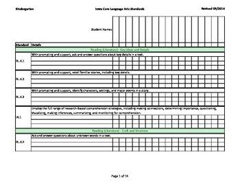 Iowa Common Core - Grade K - Reading / Language Arts Assessment Record Book