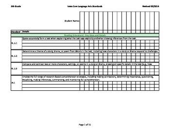 Iowa Common Core - Grade 5 - Reading / Language Arts Assessment Record Book