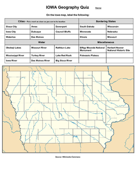 Iowa Geography Quiz
