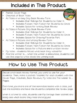 Iowa Goldfinch Book Award 18 - 19  Book Review Activity Pack