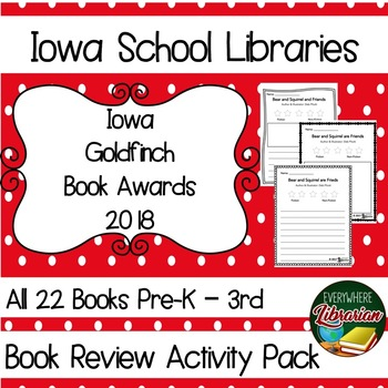 Iowa Goldfinch Book Award 2017 - 2018 Library Lesson Book Review Activity Pack