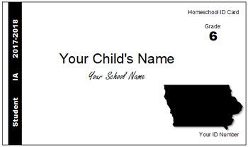 Iowa (IA) Homeschool ID Cards for Teachers and Students