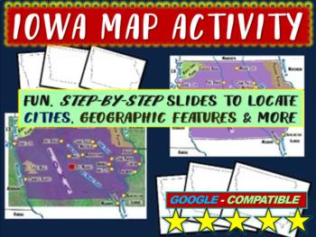 Iowa Map Activity- fun, engaging, follow-along 20-slide PPT