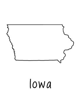 Iowa Map Coloring Page Craft - Lots of Room for Note-Taking & Creativity