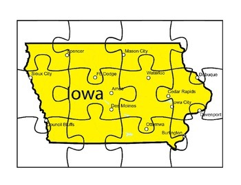Iowa Map Puzzle Activity