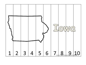 Iowa Number Sequence Puzzle.  Learn the States preschool printable game.