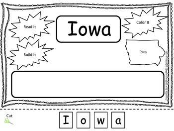 Iowa Read it, Build it, Color it Learn the States preschool worksheet.