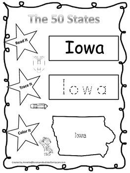 Iowa Read it, Trace it, Color it Learn the States preschool worksheet.