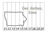 Iowa State Capitol Number Sequence Puzzle 11-20.  Geography and Numbers.
