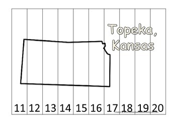 Kansas State Capitol Number Sequence Puzzle 11-20.  Geography and Numbers.