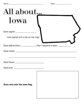 Iowa State Fact Worksheet: Elementary Version
