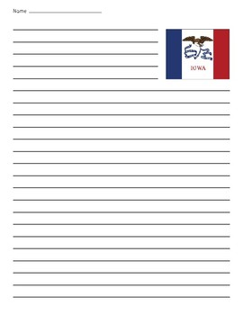 Iowa State Flag Lined Paper