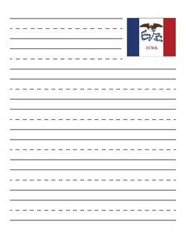 Iowa State Flag Primary Lined Paper