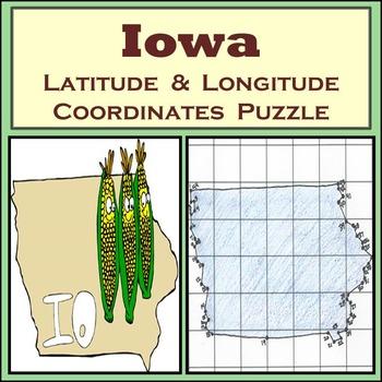 Iowa State Latitude and Longitude Coordinates Puzzle - 44