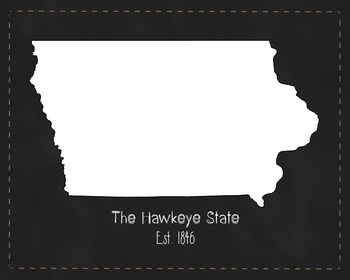 Iowa State Map Class Decor, Government, Geography, Black and White Design