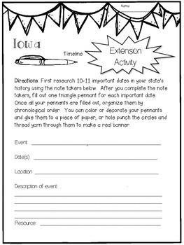 Iowa State Research Report Project Template + bonus timeline Craftivity IA