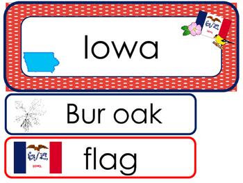 Iowa State Word Wall Bulletin Board Set. Geography Curriculum.