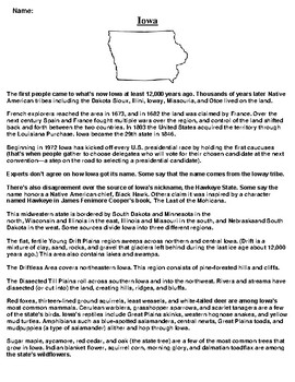 Iowa Text Evidence and Summary Assignment