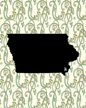 Iowa Vintage State Map or Poster Class Decor, Classroom Decoration