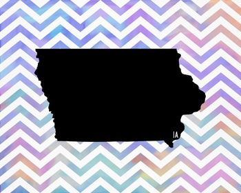 Iowa Chevron State Map Class Decor, Government, Geography