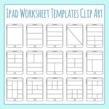 Ipad / Digital Tablet Worksheet Templates Clip Art Set Commercial Use
