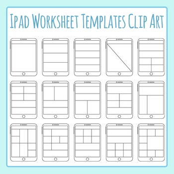 Ipad / Digital Tablet Worksheet Templates Clip Art Set Commercial Use