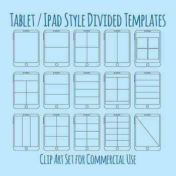 Ipad Style Digital Tablet Templates with Divisions Clip Art for Commercial Use