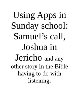 Ipad apps for Sun Sch series - Samuel's call and other listening stories