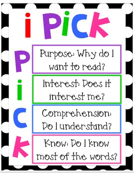 iPick: P - Purpose, why do I want to read? I - Interest, Does it interest me? C - Comprehension, Do I Understand? K - Know, Do I Know Most of the Words?